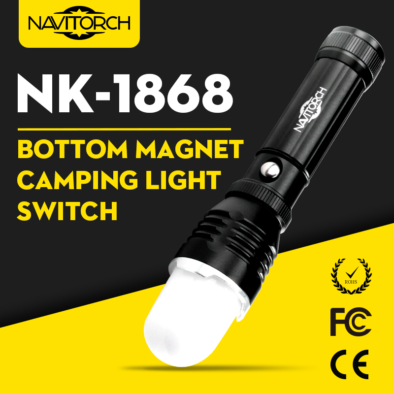 Zoomable Focus and Waterproof Aluminum LED Flashlight (NK-1868)