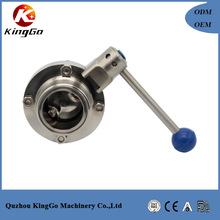 Food grade stainless steel male ends sanitary butterfly valve