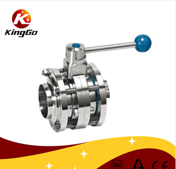 Stainless steel 3pc welded butterfly valve for food industry