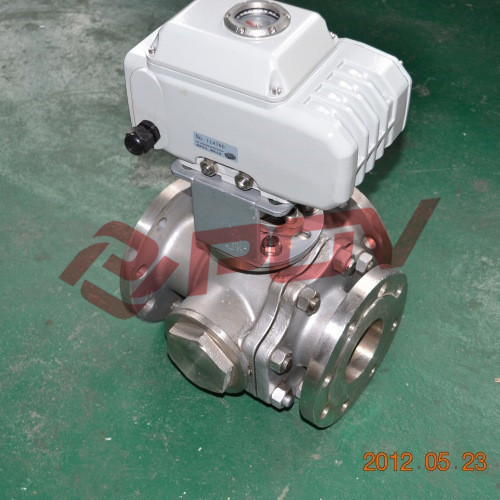 Flange 3 way electric ball valve