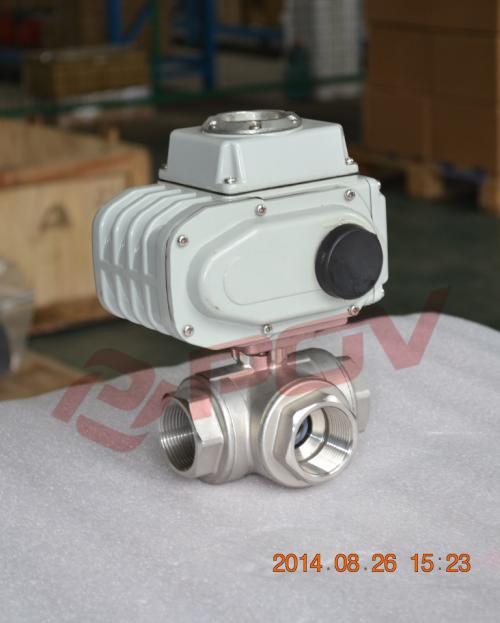 Inner thread 3 way electric ball valve