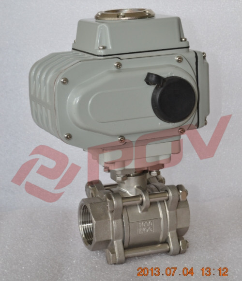 3 pc thread electric ball valve