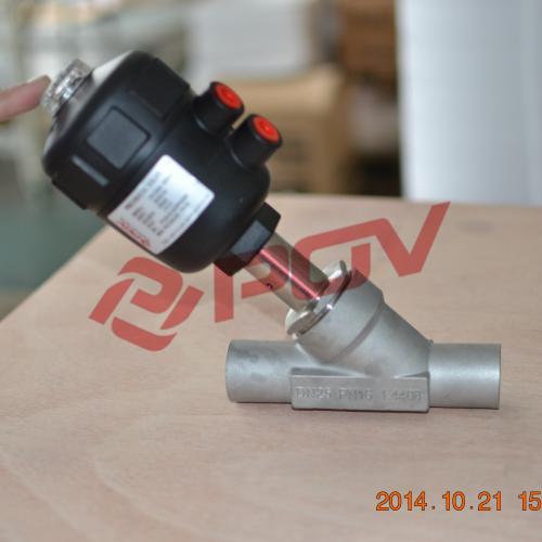 Weld type pneumatic angle seat valve