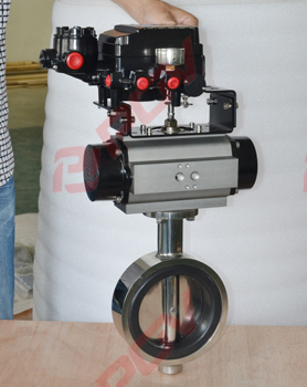 Sanitary wafer pneumatic butterfly valve
